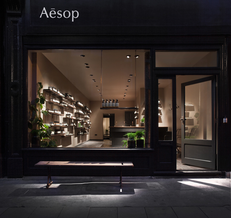 Superfuture supernews london aesop store opening for Retail interior design agency london